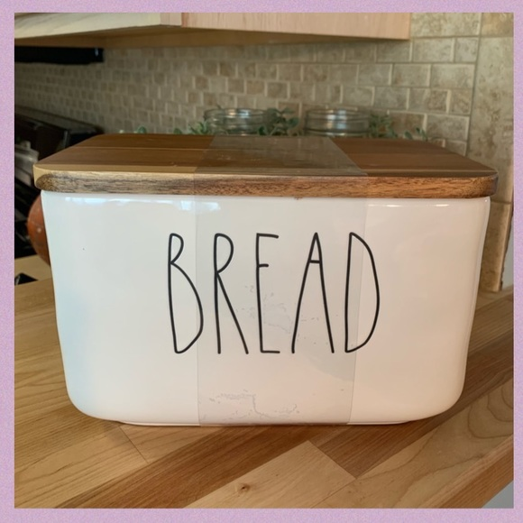 """RAE DUNN """"BREAD"""" CERAMIC CONTAINER/BOX W/WOOD LID"""